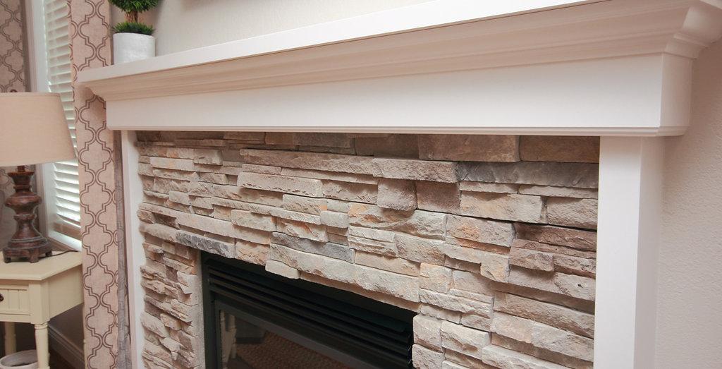 Grey Stone Fireplace White Mantle Ideas